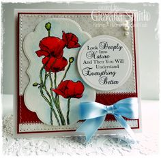 Crafter's Companion: Project by Giovana Smith. Stamp set used: Poppies and Disies. Spectrum Noir Blendable Pencils: 022, 023, 026, 032, 033, 056, 058. 060, 062, 068, 094, 098