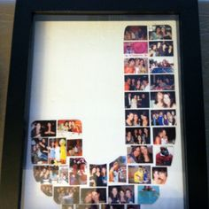 I made this for one of my best friend's birthday. Her name is Jenni. I used a shadow box that I found at Homegoods. Then I printed out small pictures of us over the past 15 years we have known each other and attached them with double sided photo safe tape.