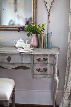 Farmhouse French Vanity/Desk - painted with homemade chalk paint - 1 cup. of Sherwin Williams Earl Gray (flat or satin) + 3 TBS of Calcium Carbonate, sand down corners to distress, then apply Fiddes Rugger Antique Brown wax (can mix with clear wax to make less dark)