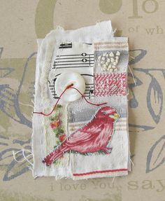 Stitched and embroidered mini textile art bird by ColetteCopeland