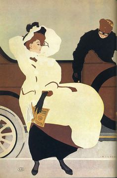 A vintage advertisements image showing Edwardian lady and motorcar.
