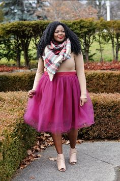 A Burgundy Tulle Skirt + Plaid Scarf
