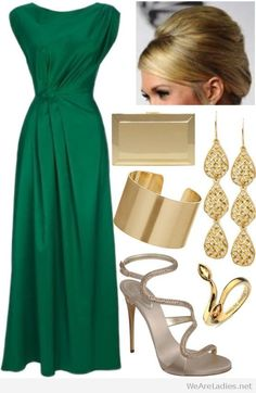 Nice emerald green dress with gold accessories