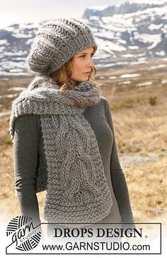 "Ravelry: 116-15 b - Scarf with cables in ""Polaris"" pattern by DROPS design. Free pattern."