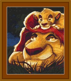 Lion King Simba with His Dad Cross Stitch Pattern (7028)  PDF format Instant Download, Great Picture for anyone who loves Lion King Movie