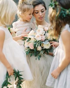 """More beauty by @lauragordon @wrenbridal @nellystellaaa @_emilyriggsbridal and more! #Repost @wrenbridal  """"There is something so tender about the interactions between a bride and her flower girl(s)."""" Head over to @oncewed to see the magic of these moments in our beautiful feature captured by @lauragordon! Link in profile. Thank you to the vendors below. It was such a joy to work with you all!  Photography @lauragordon  Gown and veil @_emilyriggsbridal  Flower girl dresses @nellystellaaa…"""