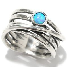Passage to Israel Sterling Silver 4mm Simulated Blue Opal Overlay Multi Row Ring