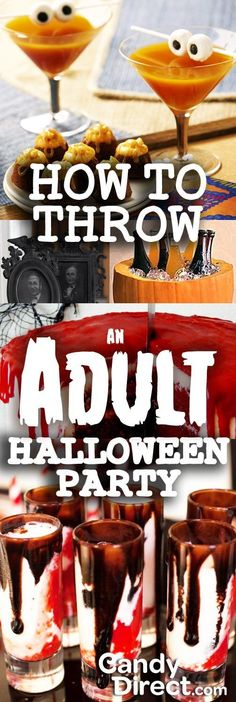 Throw An Adult Halloween Party Love these creative ideas for an adult Halloween party. Great party food recipes and DIY decor.Love these creative ideas for an adult Halloween party. Great party food recipes and DIY decor. Halloween Snacks, Halloween Bebes, Hallowen Food, Halloween Dinner, Halloween Food For Party, Holidays Halloween, Spooky Halloween, Happy Halloween, Halloween Decorations