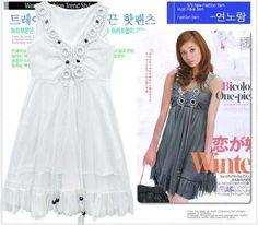Vestido Blanco Cuello V *moda Asiatica* - $ 1.00