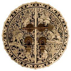 Chinese Brass Hardware Six Horses Cabinet Face Plate 9 1/2u0027u0027 Diam