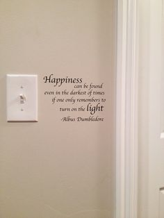 Wall Quotes With Lights : Dumbledore Happiness Quote Light Switch Wall Decal Harry Potter