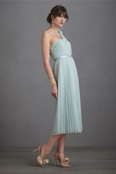 Marchioness Dress in Greyed Jade from BHLDN like the colour-not sure of the one shoulder