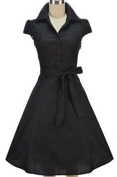 soda fountain pinup day dress - black $39