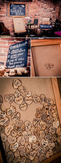 Guests write on wooden hearts with a sharpie pen #weddings #weddingideas #countryweddings #rusticweddings #rosesandrings ❤️ http://www.rosesandrings.com/framed-wooden-wedding-guest-books/