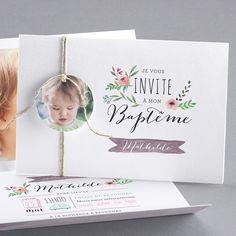 faire-part de Baptême - PN39-004 Faire Part Invitation, Invitation Design, Baptism Invitations, Birthday Invitations, Baptism Cards, Christening Card, Baby Event, Baby Girl Baptism, Baby Cards