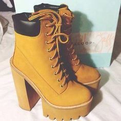 shoes timberlands boots heels stompers timberland heels yellow timberland timberlandheels women platform shoes chunky high heels wedges lug sole