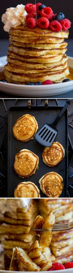The best buttermilk pancakes you'll ever taste! They're fluffy, savory, melt-in-your mouth scrumptious. A quick pancake recipe. Buttermilk Pancakes, Breakfast Pancakes, Pancakes And Waffles, Breakfast Dishes, Breakfast Time, Breakfast Recipes, Pancake Recipes, Breakfast Pastries, Tostadas