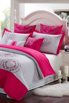 Majestic Cotton Duvet Cover - Raspberry/Grey by NMK This all cotton embroidered duvet cover collection captures the essence of a global world. An enchanting interpretation of modern craftsmanship and vivid hues evoke a sense of endless warmth. Diy Home Decor Bedroom, Home Decor Furniture, Cool Furniture, Decor Room, Bedroom Sets, Bedding Sets, Pink Comforter, Interior Design Boards, Kitchens And Bedrooms