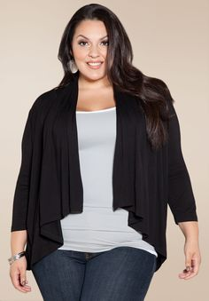 Open Cardigan - Black Plus Size Clothing SALE - TAKE EXTRA 50% OFF SALES ITEMS! #plussize #clothing #plussizefashion shop online www.curvaliciousclothes.com Use code: EXTRA50 May 14 - May 20 Victoria Day Weekend SALE