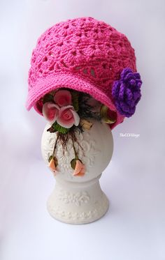 Pink Crochet Baby Hat Crochet Girl Hat with purple by TheCCVillage, £10.00