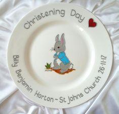 Rabbit Naming Day Gift - Hand painted Fine Bone China Keepsake Plate - Gift for baby Nephew - Rabbit New Arrival / Christening Day Gift