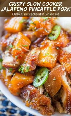 Slow Cooker Jalapeno Pineapple Pork with just six ingredients is crispy with a sweet, sticky, spicy glaze and meltingly soft pineapple chunks.