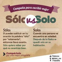 Sólo vs. Solo Spanish Lesson Plans, Spanish Lessons, High School Spanish, Spanish English, Teaching Spanish, Spanish Vocabulary, Spanish Grammar, Spanish Activities, Spanish Words