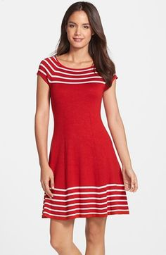 Eliza J Stripe Knit Flared Dress available at #Nordstrom