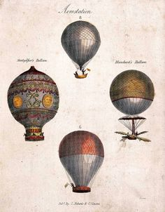 Large Balloons, Printed Balloons, Monkey In Space, How To Draw Balloons, Balloon Illustration, Balloon Flights, Vintage Air, Vintage Drawing, Hot Air Balloon