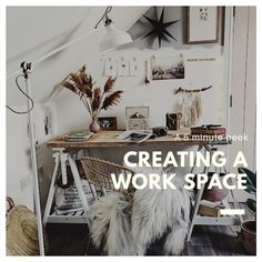how to create workspace on a budget. has a boho feel ans scafford board top desk My Workspace, Desk, Colour Blocking Fashion, Block Wall, Dark Interiors, Luxury Vinyl Plank, Dream Apartment, Home Trends, Loft Spaces