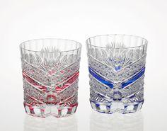 Edo Kiriko pair rock glass