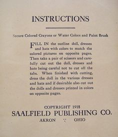 """""""Dollies to Paint Cutout and Dress"""" paper doll cut out book by Saalfield Publishing. This delightful book features 8 pages of cut out paper dolls from 1918. All uncut."""