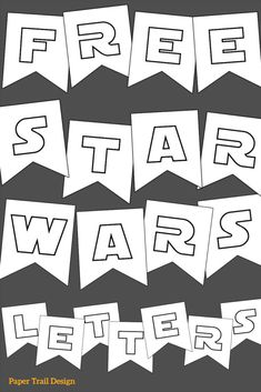 Free Printable Star Wars Banner Letters for a Birthday Party, Baby Shower, May the Party decor.You can find Star wars party and more on our website.Free Printable Star Wars Banner Letters for a Birthday Party, Baby Shower, May the Part. Decoration Star Wars, Star Wars Party Decorations, Birthday Party Decorations, Party Themes, Party Ideas, Star Wars Baby, Imprimibles Star Wars Gratis, Printable Star, Free Printables