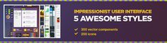 Impressionist UI is the world's biggest user interface elements pack. Huge pack that contains over 300 elements for web design that represent almost anything one can imagine..