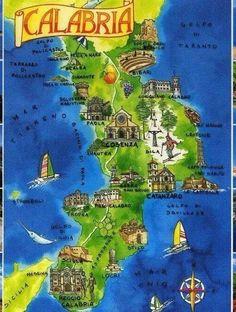 Calabria tourist map Miejsca do odwiedzenia Pinterest Tourist