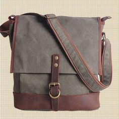 GRAY cross -body bag Genuine Cow Leather Men's leather bag canvas Bag/ leather canvas Briefcase / Messenger bag / 13'Laptop bag (1815) · Han...