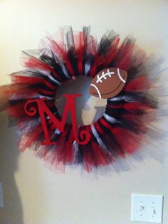 Tulle Football or School spirit Wreath by WreathsByKristen on Etsy, $40.00