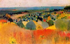 Joaquim Mir, Paisaje / Landscape City Landscape, Landscape Paintings, Landscapes, Land Ho, Spanish Artists, Klimt, Spanish Style, Online Art, Art Reference