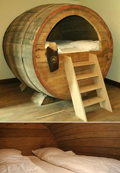 Muebles Furniture - bed from a barrel. Very neat! But I don't see it happening in reality.