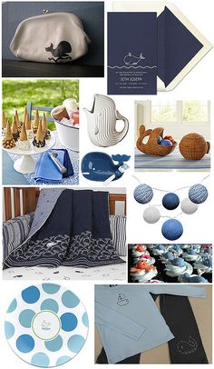 whale themed [party] decor  - or in my world...just whale themed decor! Some fun pieces definitely on my wish list!