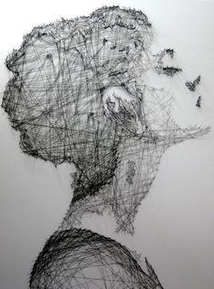 Beautiful thread drawings - by Debbie Smyth - Incredible portraits and art… Arte Linear, Art Du Collage, L'art Du Portrait, Inspiration Artistique, Ideias Diy, Thread Art, A Level Art, Art Et Illustration, Contemporary Artwork