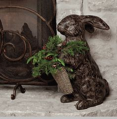 Cast Stone Rabbit - Brown - Welcome family and guests with the New GG Collection Rabbit. Available in two sizes, each rabbit comes with an interchangeable candy dish, basket and message board. Ideas Actuales, Rabbit Art, Bunny Art, Christmas Decorations, Holiday Decor, Garden Ornaments, Garden Art, Iron, Illustrations