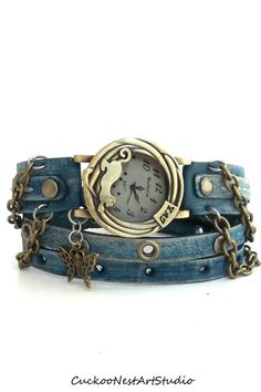 Denim Blue Wrap Watch Womens leather watch by CuckooNestArtStudio, $49.00