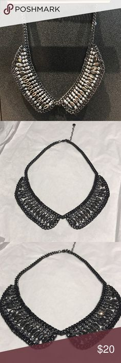 LOFT BIB BEADED COLLAR NECKLACE (Dannijo Style) Dannijo replicate by LOFT of the crystal bib collar necklace. Black and gray gun metal silver tones. Lobster clasp and adjustable length. Like new condition! BUY NOW OR MAKE AN OFFER! LOFT Jewelry Necklaces
