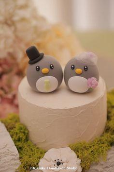 Final $125 w/rush, Penguins wedding cake topper