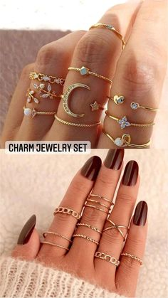 Antique Rings, Vintage Rings, Antique Jewelry, Charm Jewelry, Diy Jewelry, Ring Crafts, Knuckle Rings, Juicy Couture, Bohemian