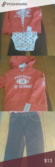 Carters 3 piece 24 m outfit Get ready for Football!  Coral hoodie says Property of Mommy on front and MVP DIV. down sleeve. Onsie has blue gray and coral football design. Jeans are a little stretchy.  Brand New.  Great shower gift for the expectant football enthusiast! Carter's Matching Sets