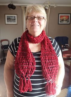 hand braided long scarf in red wool multi tassel on end