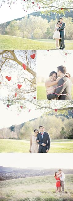 Creative Valentine's Day engagement session!  Love the use of red hearts in the tree.