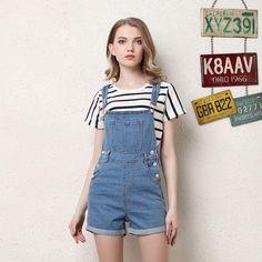 b10f16e496b Women s Casual Slim Bib Overalls Shorts Blue Pockets Suspender Denim Pants  Plus Size Adjustable Strap Jumpsuits